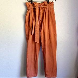 PS / LA Pacsun Rust Tie-Waist Paperbag Pants